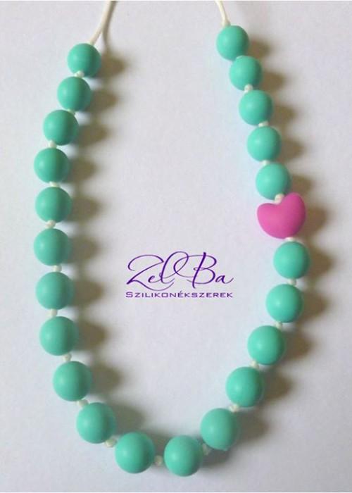 ZELBA - Collana allattamento cuore azzurro