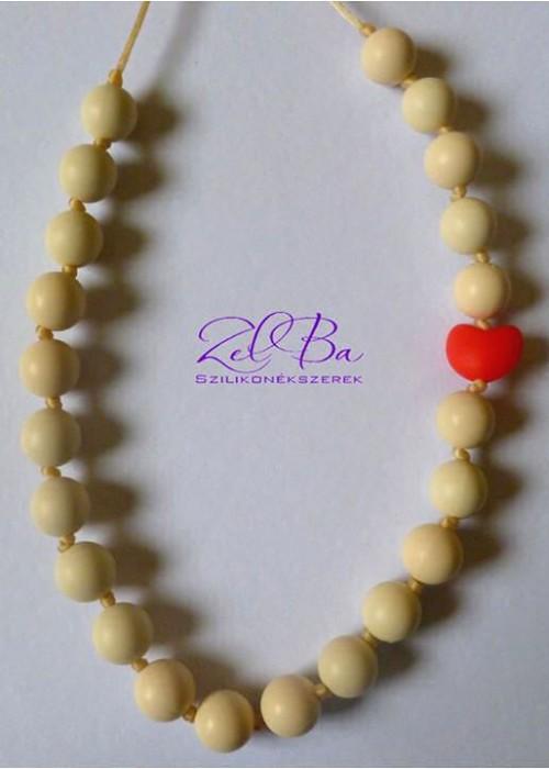 ZELBA - Collana allattamento cuore bianco