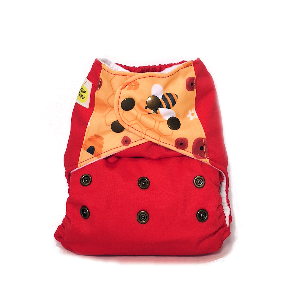 green mama pannolini lavabili pocket FUN bee red