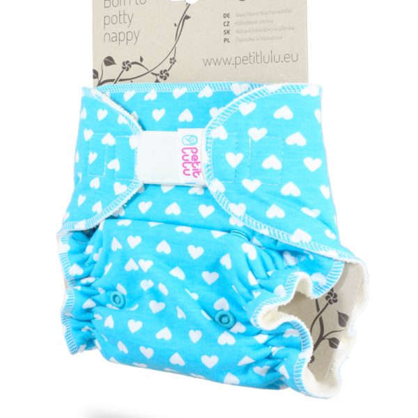 Petit Lulu - Fitted Taglia Unica Velcro Little Hearts on Blue